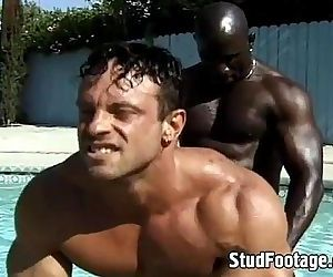 Interracial poolside..