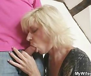 Blonde mom seduces her..