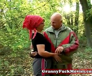 Granny in to outdoor..