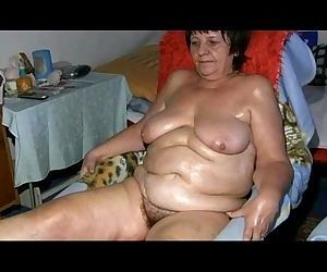 Old grandma pulling toy..