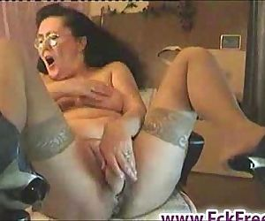Old granny dildoing on..
