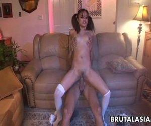 Big ass Asian babe has..