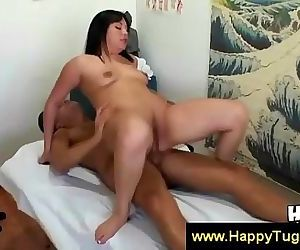 Asian masseuse gives..