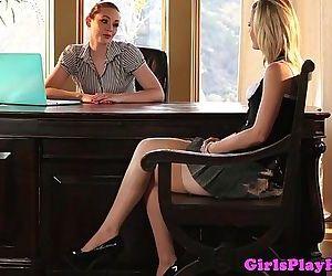 Young lesbian babe eats..