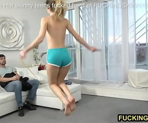 Young skinny teen jumps..