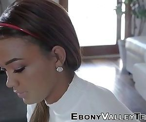 Ebony teen rides shlong..
