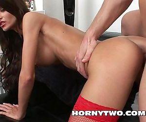 Big tits young brunette..