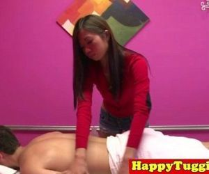Skinny tugging masseuse..