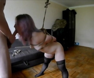 Tied up sex and blowjob..