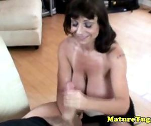Busty granny giving..
