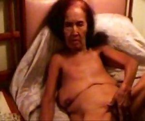 Pervert granny smoking..
