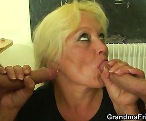 Granny teacher and boys..