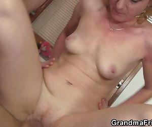Sharing skinny old lady..