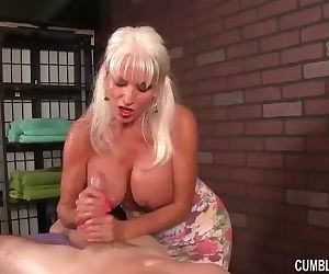 Busty granny handjob