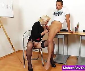 Lady blondie strokes cock