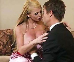Blonde milf in lingerie..