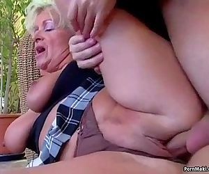 Big titted mom takes..