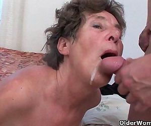 Hairy granny loves anal..
