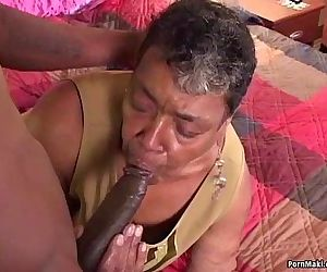 Ebony grandma loves big..
