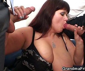 Busty mommy swallows..