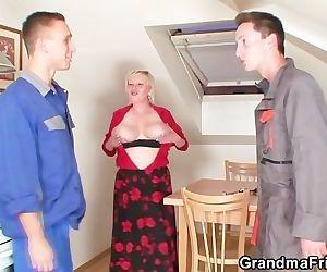 Naughty granny pleases..