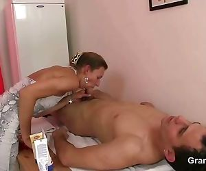 Old woman massage his..
