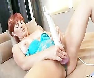 Busty Red Head Toys On..