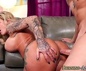 Tattooed milf gets facial