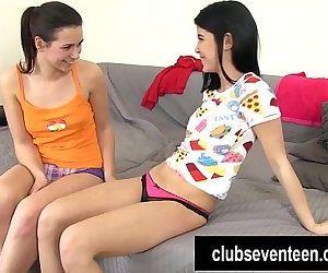 Lesbian teens lick and..